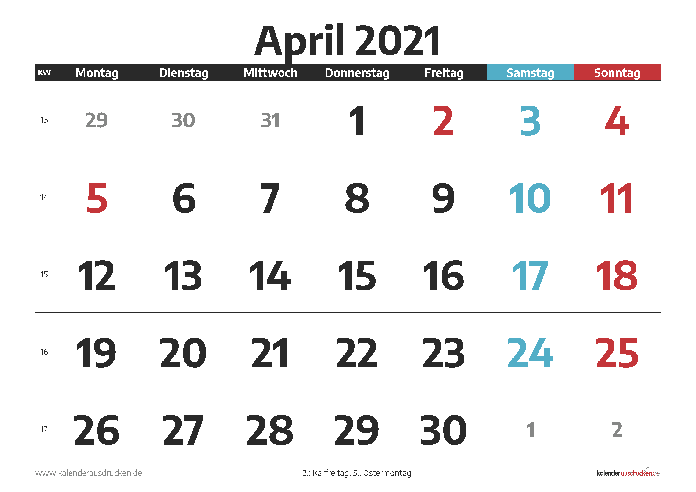 Mondkalender April 2021